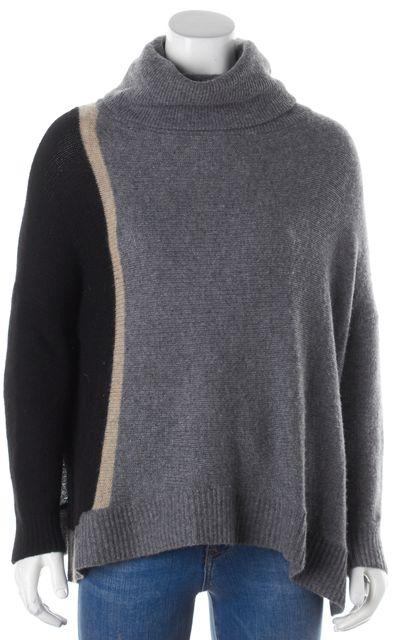 360CASHMERE Gray Black & Beige Striped Cashmere Turtleneck Sweater