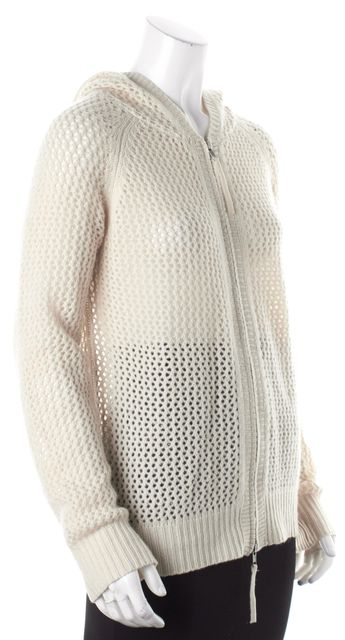 360CASHMERE Beige Cashmere Hooded Open Perforated Knit Sweater