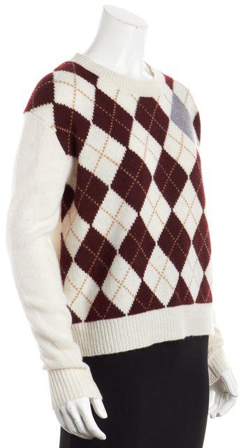 360CASHMERE Ivory Argyle Cashmere Crewneck Sweater