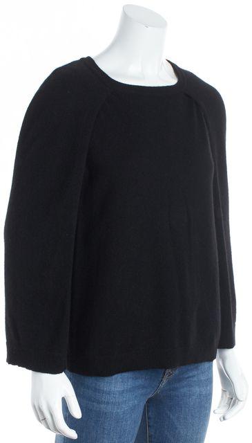 360CASHMERE Black Cashmere Sleeveless Cape Layered Crewneck Sweater