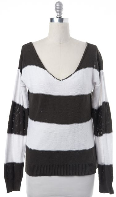 360 SWEATER Olive Green Ivory Casual Striped Scoop Neck Relaxed Sweater