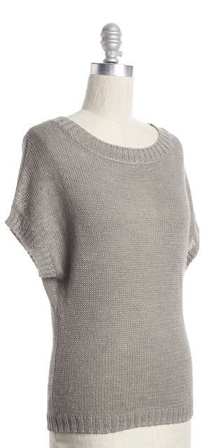 360 SWEATER Gray Linen Boatneck Open Knit Blouse Relaxed Fit Top