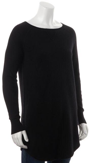 360 SWEATER Black Wool Crewneck Tunic Sweater