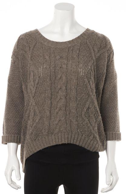 360 SWEATER Beige Wool 3/4 Sleeve Side Zip Hi-Lo Crewneck Sweater