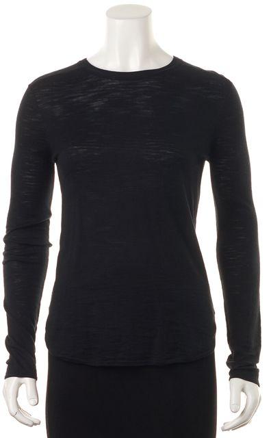 360 SWEATER Black Cashmere Leta Long Sleeve Crewneck Sweater