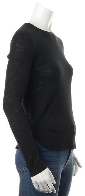 360 SWEATER Black Cotton Leta Long Sleeve Crewneck Knit Top