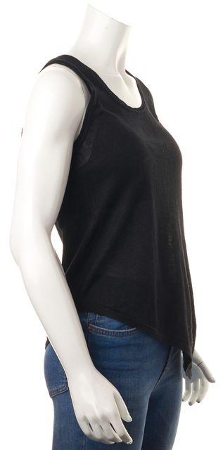 360 SWEATER Black Semi-Sheer Linen Asymmetrical Hem Knit Tank Top