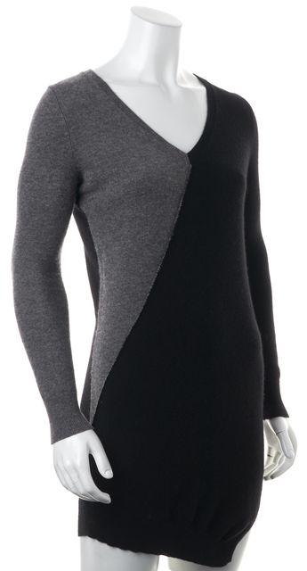 360 SWEATER Black Gray Colorblock Wool Cashmere Long Sleeve Sheath Dress