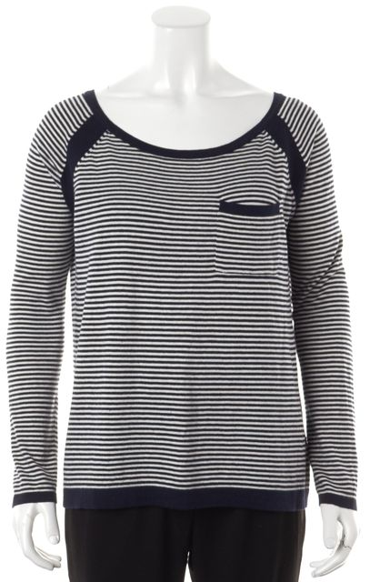 360 SWEATER Navy Blue White Striped Scoop Neck Long Sleeve Knit Top