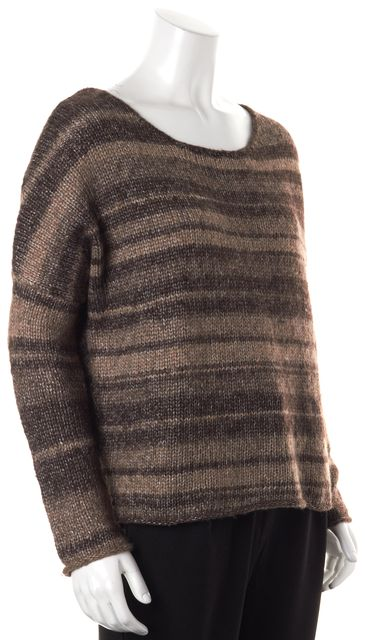 360 SWEATER Brown Beige Ivory Tweed Boat Neck Knit Sweater