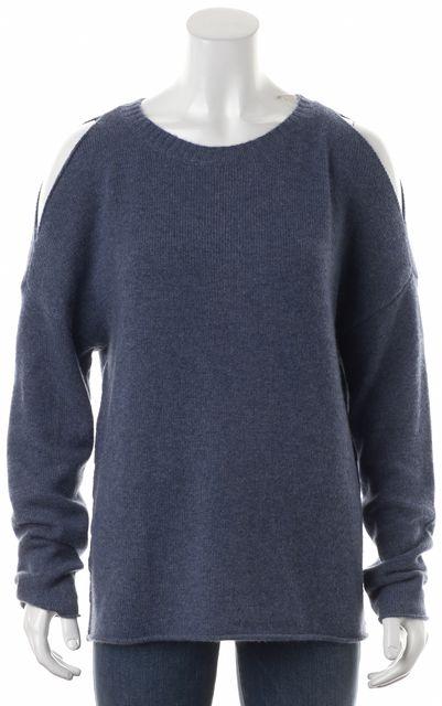 360 SWEATER Blue Gray Marled Cashmere Cold Shoulder Crewneck Sweater