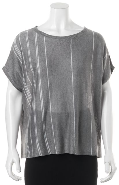 360 SWEATER Gray Striped Linen Knit Top