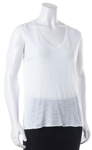 360 SWEATER White Relaxed Fit Sleeveless Semi Sheer Knit Sweater Top