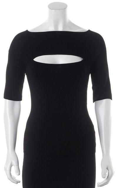 360 SWEATER Black Cutout Front Boatneck Ribbed Knit Top