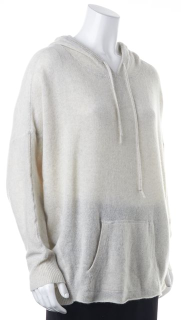 360 SWEATER Ivory Cashmere Knit Relaxed Fit Dolman Sleeves Hooded Sweater