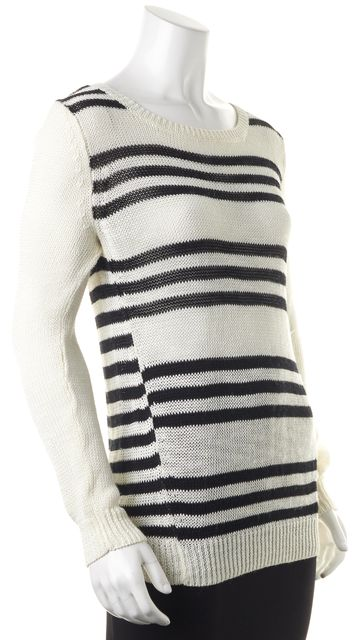 360 SWEATER White Black Striped Linen Long Sleeve Open Knit Top