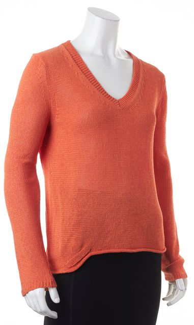 360 SWEATER Orange V-Neck Cut-Out Back Sheer Knit Sweater