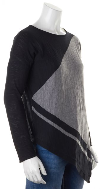 360 SWEATER Black Gray Asymmetrical Color Block Knit Top