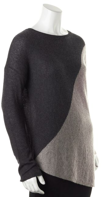 360 SWEATER Black Beige Color-Block Cashmere Knit Crewneck Sweater