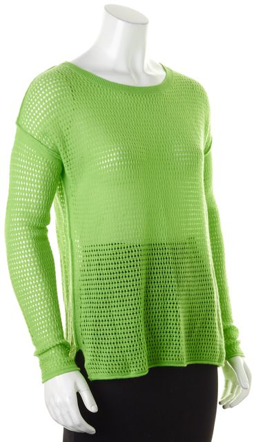360 SWEATER Neon Green Cashmere Open Perforated Knit Crewneck Sweater