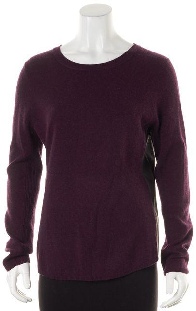 360 SWEATER Purple Wool Crewneck Leather Trim Crewneck Sweater