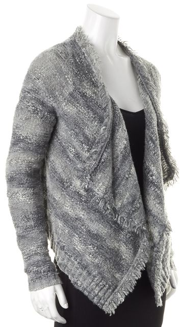 360 SWEATER Gray Marled Knit Draped Open Cardigan Sweater