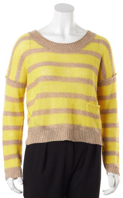 360 SWEATER Yellow Beige Striped Linen Wide Crewneck Sweater