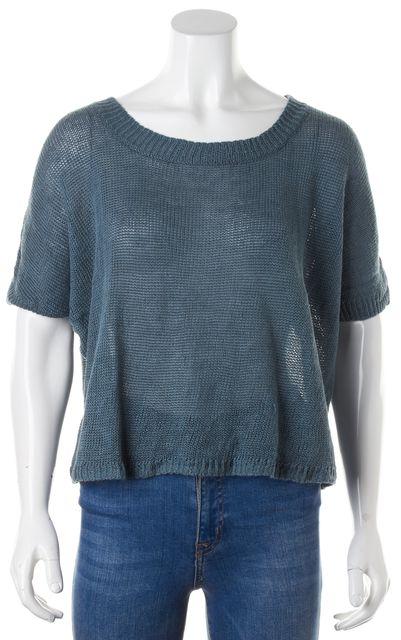 360 SWEATER Blue Linen Crewneck Semi Sheer Knit Top