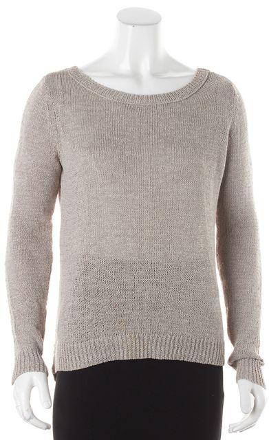 360 SWEATER Beige Gold Metallic Accent Crewneck Sweater