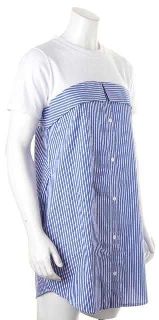 PIXIE MARKET Blue White Striped Short Sleeve Above Knee Shift Dress