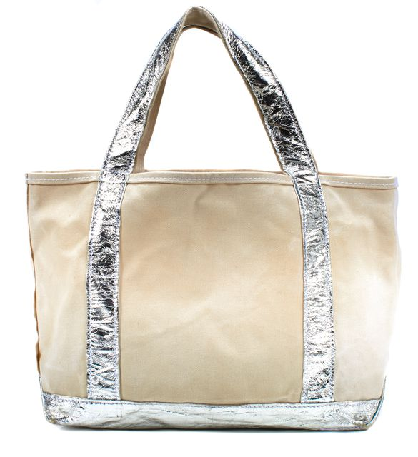 TEMBEA Ivory Silver Canvas Crinkle Leather Trim Shopping Tote Bag