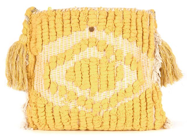 ANTIK BATIK Yellow Woven Shell Bead Embellished Jesa Pouch Crossbody Bag