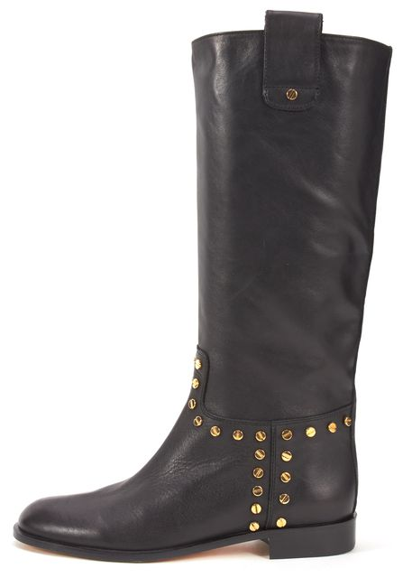 ALEXANDRO INGELMO Black Leather Gold-Tone Studded Mid-Calf Pull Up Boots