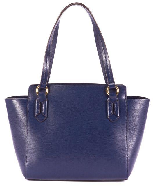 LAUREN BY RALPH LAUREN LAUREN RALPH LAUREN Blue Leather Gold-Tone Hardware Top Handle Shoulder Bag