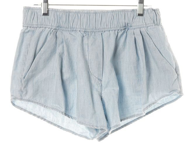 3X1 Blue White Striped Cotton Elastic Waist Casual Shorts