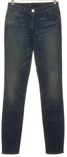 3X1 Blue Slim Fit Skinny Leg Mid-Rise Distressed Wash Stretch Jeans