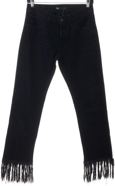 3X1 Tango Black Distressed Fringe Hem Mid-Rise Cropped Jeans