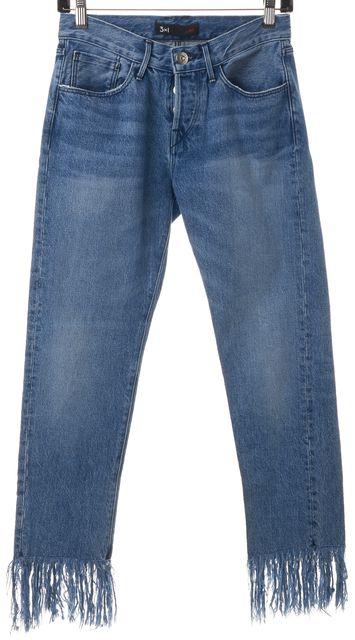 3X1 Blue Stella Distressed Fringe Hem Mid-Rise Cropped Jeans