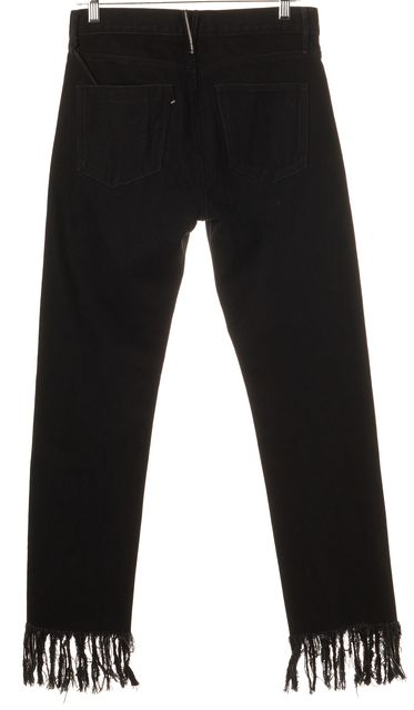 3X1 Black Fringe Trim High-Waisted Tango Cropped Jeans