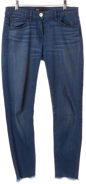 3X1 Blue Distressed Mid-Rise Skinny Jeans