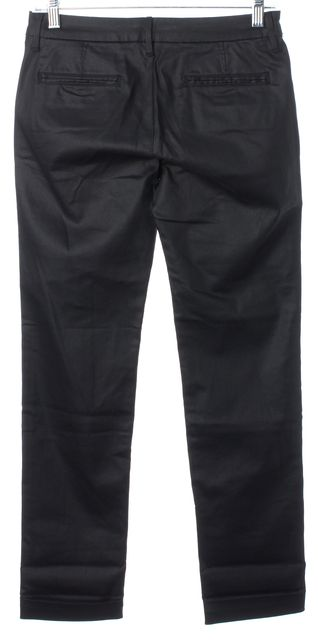 3X1 Black Coated Waxed Denim Cuffed Cropped Leg Slim Fit Jeans