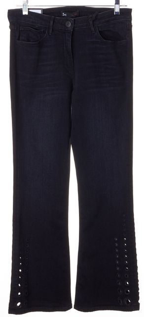 3X1 Solid Black Perforated Flare Leg Mid-Rise Jeans