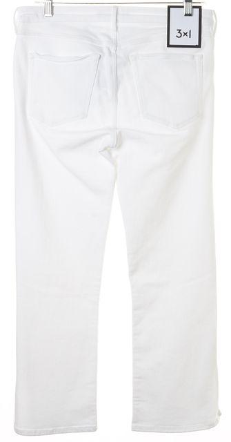 3X1 White Split Bell Ankle Skinny Mid-Rise Jeans