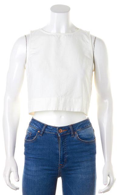 3X1 White Cotton Sleeveless Zip Back Crop Top
