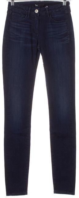 3X1 Blue Dark Wash Stretch Denim 5-Pocket Mid-Rise Skinny Jeans