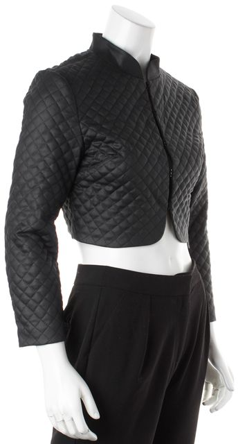 3X1 Black Quilted Coated Cotton Bolero Cropped Jacket