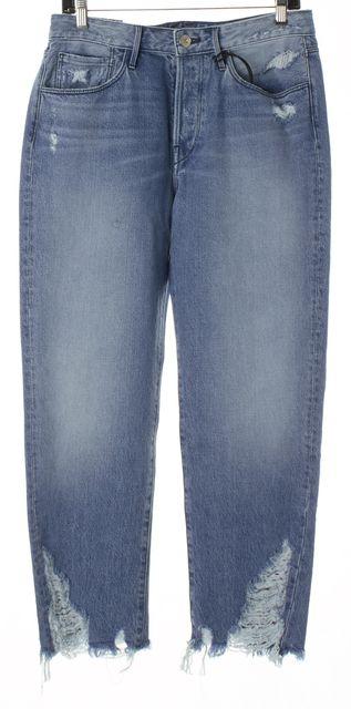 3X1 Blue Distressed Denim Button Fly Higher Ground Boyfriend Jeans