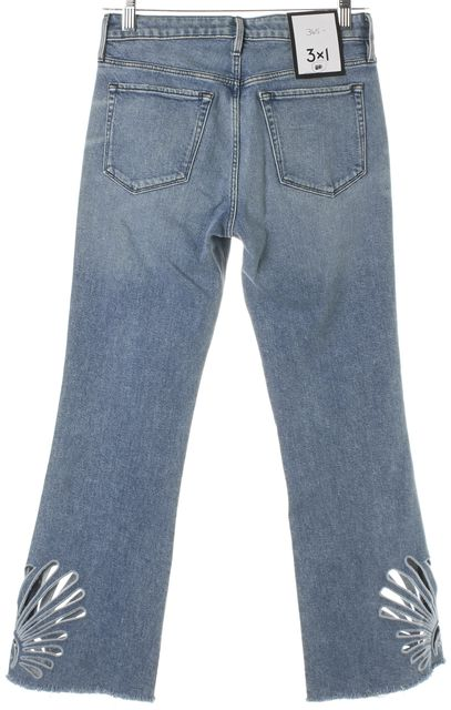 3X1 Blue Elkhorn Light Wash Embroidered Freja Crop Bell Cropped Jeans