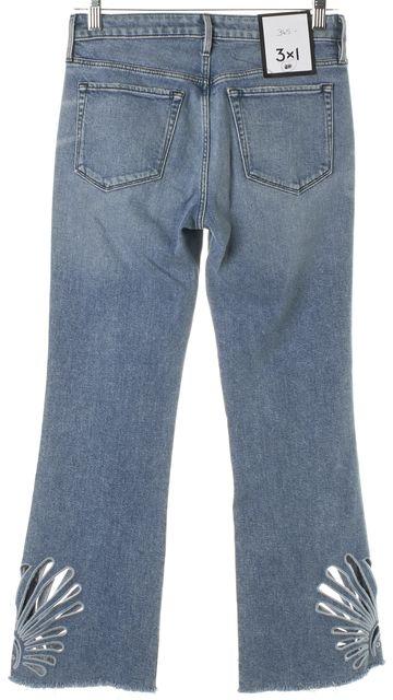 3X1 Blue Elkhorn Light Wash Embroidered Freja Crop Bell Flare Jeans