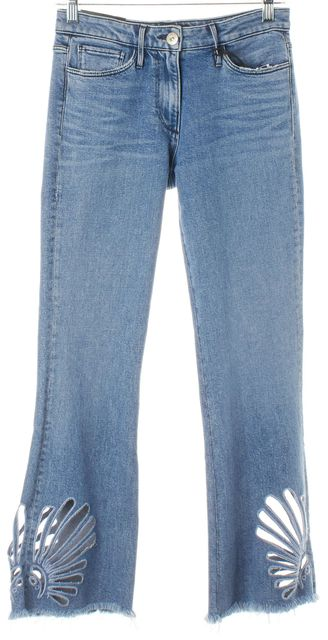 3X1 Blue Elkhorn Cut-Out Embroidered Freya Crop Bell Flare Jeans